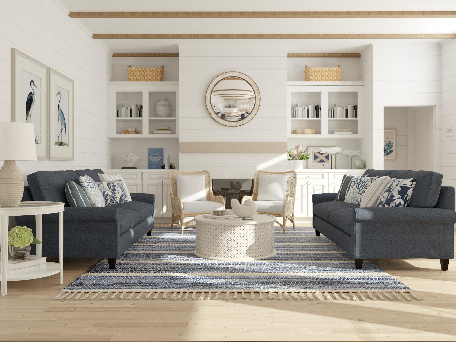 Coastal style blue and white living room