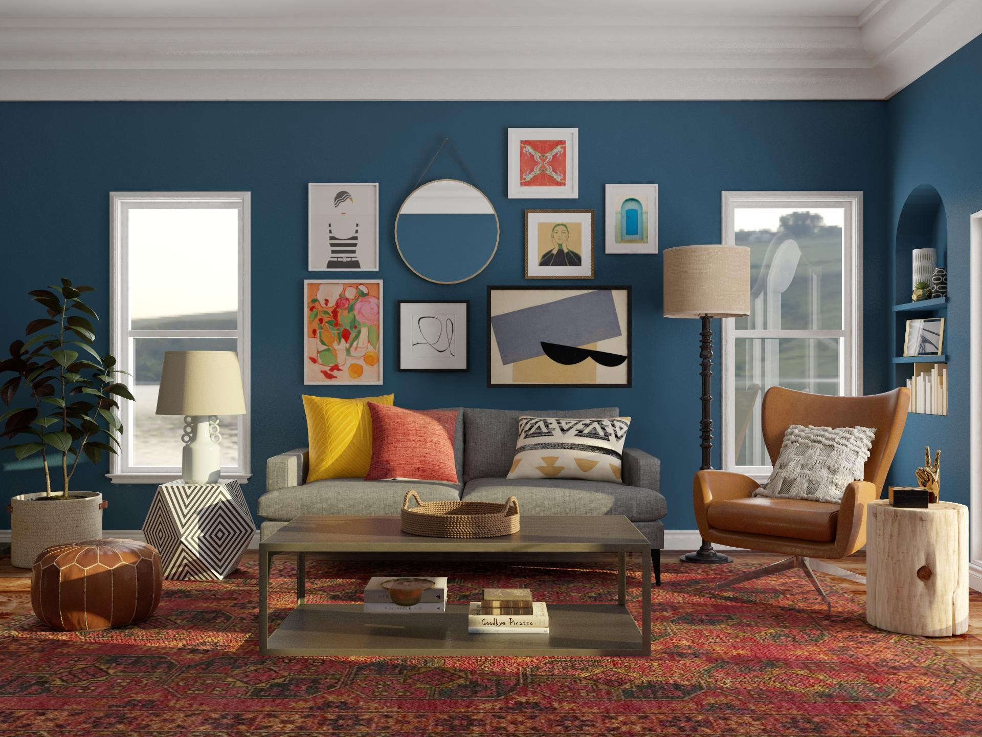 Eclectic style blue living room