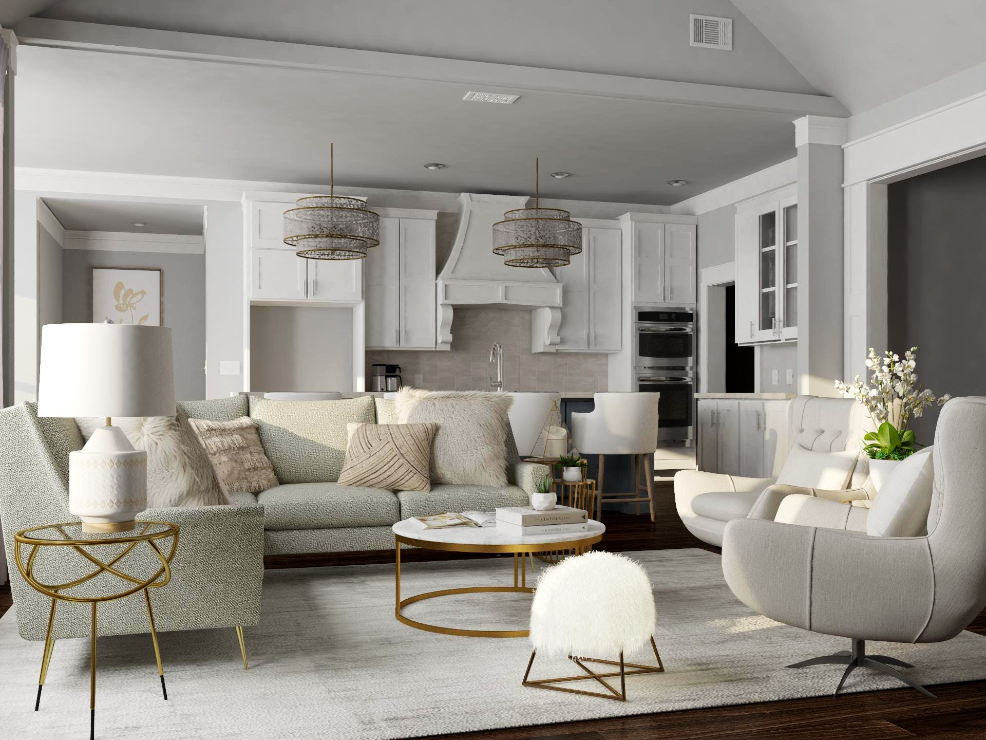 Glam style light grey living room
