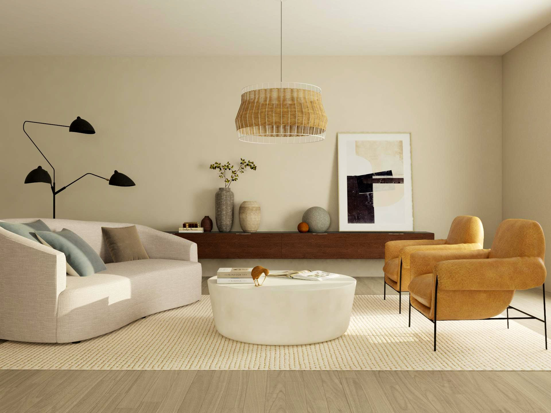 Minimalist style off-white living room