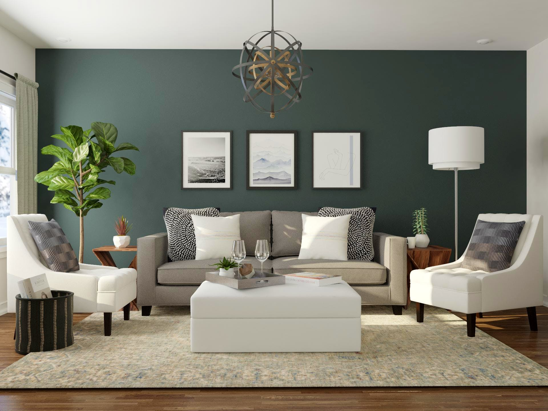Transition style teal living room